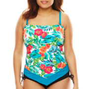 Pure Paradise® Jungle-Flower Floral Scarf Bandini Swim Top