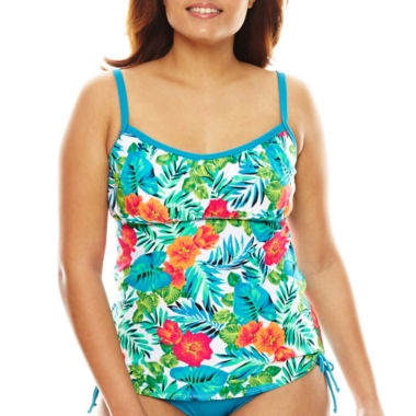 jcpenney.com | Pure Paradise® Jungle-Flower Floral Peasant Tankini Swim Top
