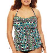 Pure Paradise® Cabo Ethnic Stripe Ruffle Bandini Swim Top