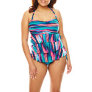 Pure Paradise® Stripe Ruffle Bandini Swim Top or Hipster Swim Bottoms