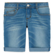 Total Girl® Stretch Denim Bermuda Shorts - Girls 7-16 and Plus