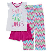 Okie Dokie® 3-pc. Smile Sleepwear Set - Preschool Girls 4-6x