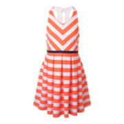 Lilt Sleeveless Neon Stripe Skater Dress - Girls 7-16