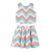 Marmellata Sleeveless Chevron Top and Skirt Set - Girls 7-16