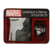 Marvel® Punisher Trifold Leather Wallet and Stress Ball in Collectible Tin