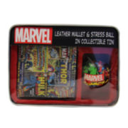 Marvel® Comic Book Leather Slim-Fold Wallet and Stress Ball in Collectible Tin