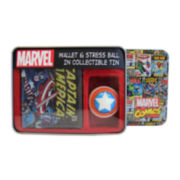 Marvel® Captain America Leather Slim-Fold Wallet and Stress Ball in Collectible Tin
