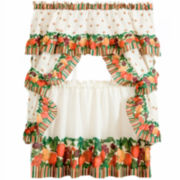 Tuttie Fruitie Cottage Rod-Pocket Window Tiers & Ruffled Topper Set