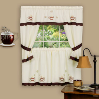 jcpenney.com | Cuppa Joe Embellished Cottage Rod-Pocket Window Tiers & Tailored Topper Set