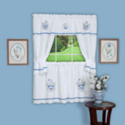 Delft Embellished Cottage Rod-Pocket Window Tier & Tailored Topper Set