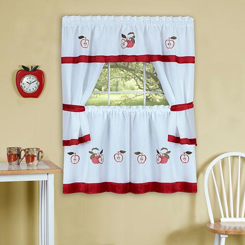 Gala Embellished Cottage Rod-Pocket Window Tier & Tailored Topper Set