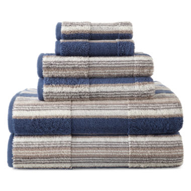jcpenney.com | JCPenney Home™ 6-pc. Farmhouse Stripe Bath Towel Set