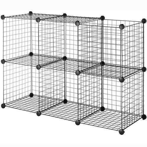 Whitmor Black Wire Set of 6 Storage Cubes