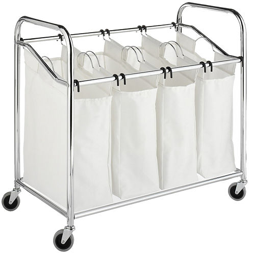 Whitmor 4-Section Chrome & Canvas Laundry Sorter