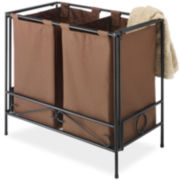 Whitmor Folding Double Hamper Java