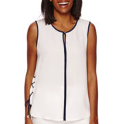 Liz Claiborne® Sleeveless Lace-Sides Top