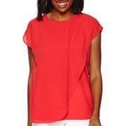 Liz Claiborne® Short-Sleeve Overlap-Front Blouse