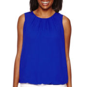 Liz Claiborne® Sleeveless Bubble-Hem Layered Top