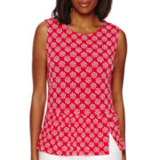 Liz Claiborne® Sleeveless Knit Peplum Top