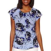 Liz Claiborne® Short-Sleeve Pleated Blouse