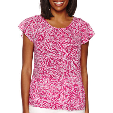 jcpenney.com | Liz Claiborne® Short-Sleeve Floral Blouse - Tall