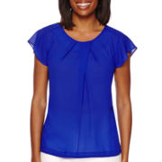 Liz Claiborne® Short-Sleeve Pleated Blouse