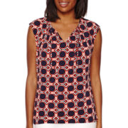 Liz Claiborne® Sleeveless Tie-Front Knit Top
