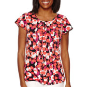 Liz Claiborne® Flutter-Sleeve Pleat Top - Tall