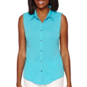 Liz Claiborne® Sleeveless Button-Front Knit Top