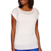 Liz Claiborne® Short-Sleeve Extended-Shoulder Burnout Knit Top