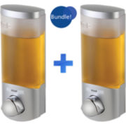 Set of 2 Euro Uno Satin Silvertone Liquid Soap Dispensers