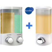 Euro Duo & Uno White Liquid Soap & Shampoo Dispensers