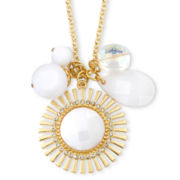 Mixit White Sunburst Charm Pendant Necklace