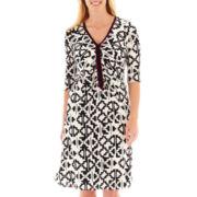 Sangria Long-Sleeve Tribal Print Ruched Dress - Plus
