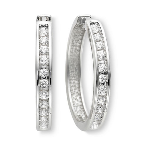"â…"" CT. T.W. Diamond Hoop Earrings"