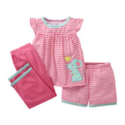 Carter's® 3-pc. Mouse Pajamas - Girls 2t-5t