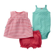 Carter's Pink Striped 3-pc. Short Set - Girls newborn-24m