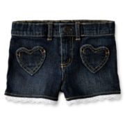 Arizona Crochet Lace-Trimmed Denim Shorts - Girls 12m-6y