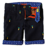 Baker by Ted Baker Pineapple Pattern Twill Shorts - Boys 2-6