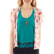 Spoiled® Print Chiffon Cardigan with Racerback Tank and Necklace