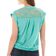 Almost Famous Tie-Front Lace Top