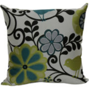 "18"" Jacquard Bird and Floral Print Decorative Pillow"