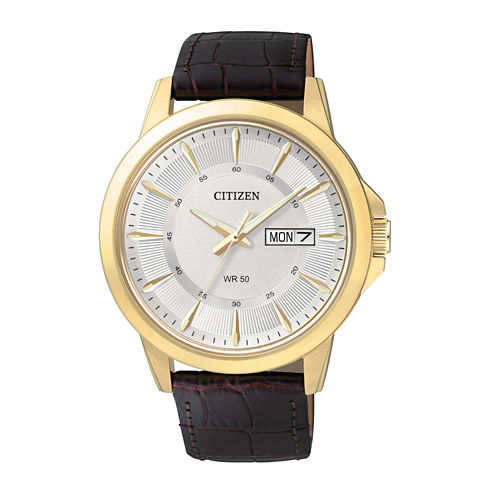 Citizen® Everyday Mens Brown Leather Strap Watch BF2018-01A