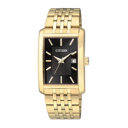 Citizen® Everyday Mens Rectangular Gold-Tone Stainless Steel Watch BH1673-50E-56