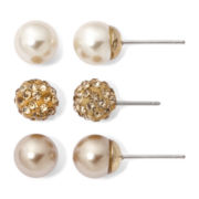 Vieste® Simulated Pearl and Rhinestone 3-pr. Stud Earrings