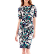 J. Taylor Elbow-Sleeve Multi-Print Scuba Dress