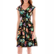 J. Taylor Sleeveless Floral Print Scuba Fit-and-Flare Dress