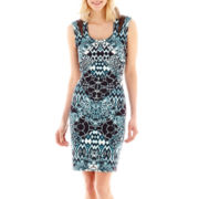 Melrose Sleeveless Printed Scuba Dress with Mesh Inserts