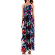 Sangria Floral Print Halter Maxi Dress with Chain Straps