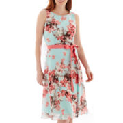 SL Fashions Sleeveless Floral Print Ribbon Belt Dress